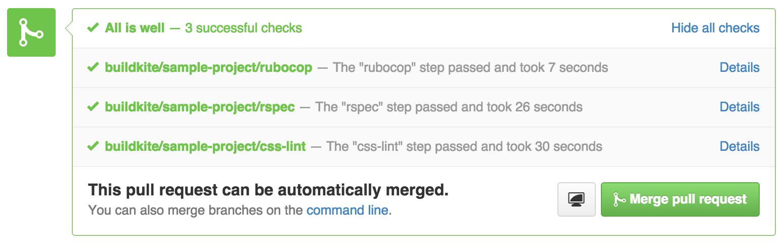 GitHub Commit Status all passed on Buildkite