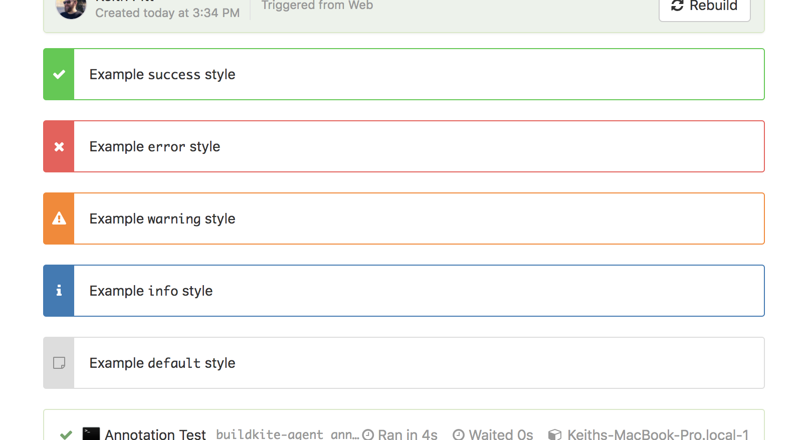 Screenshot of available annotation styles