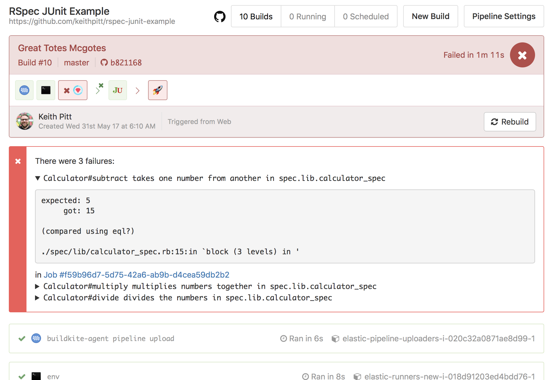 Screenshot of annotations with test reports
