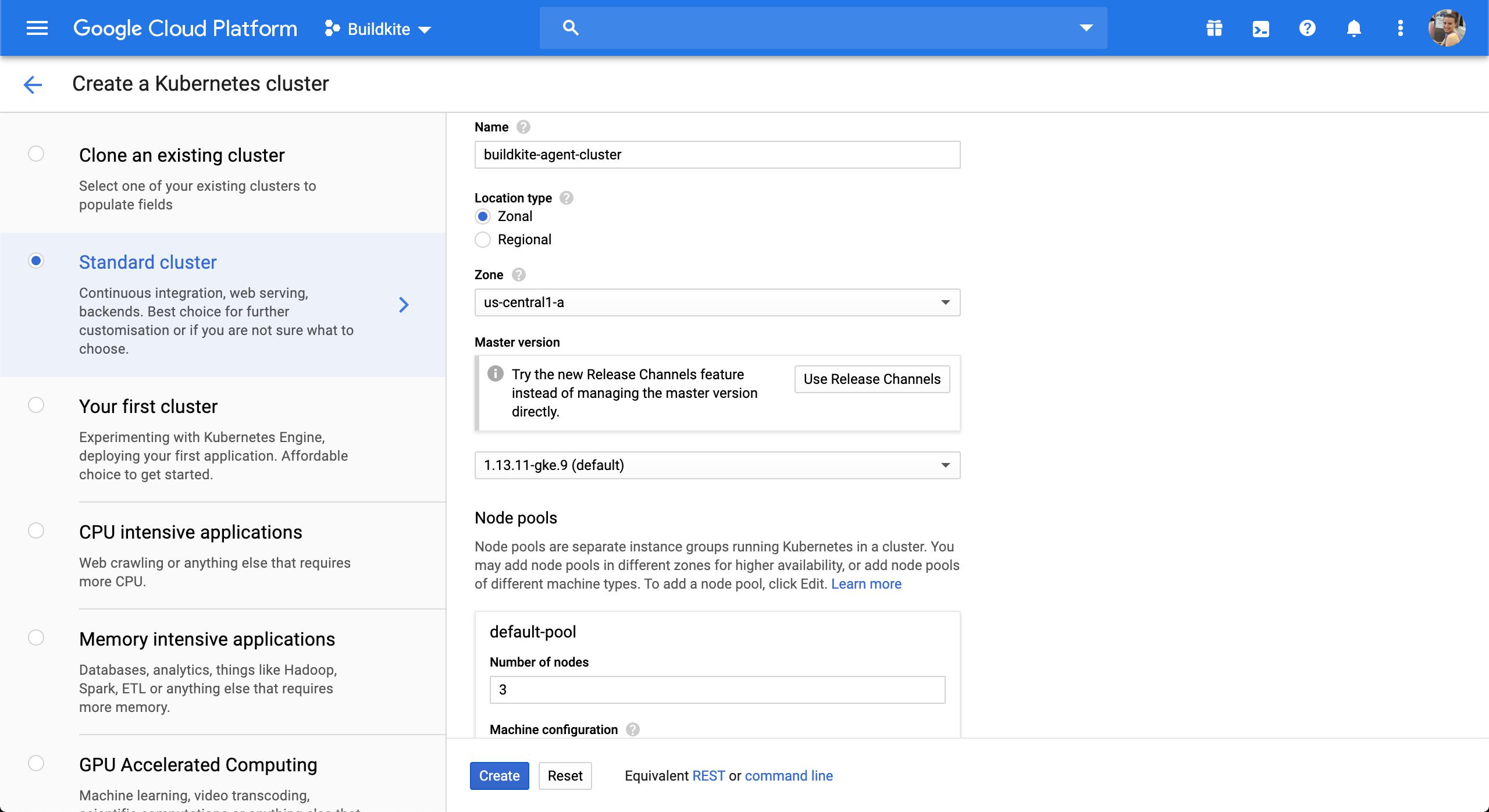 Screenshot of creating a Google Kubernetes Engine cluster via the Google Cloud Console