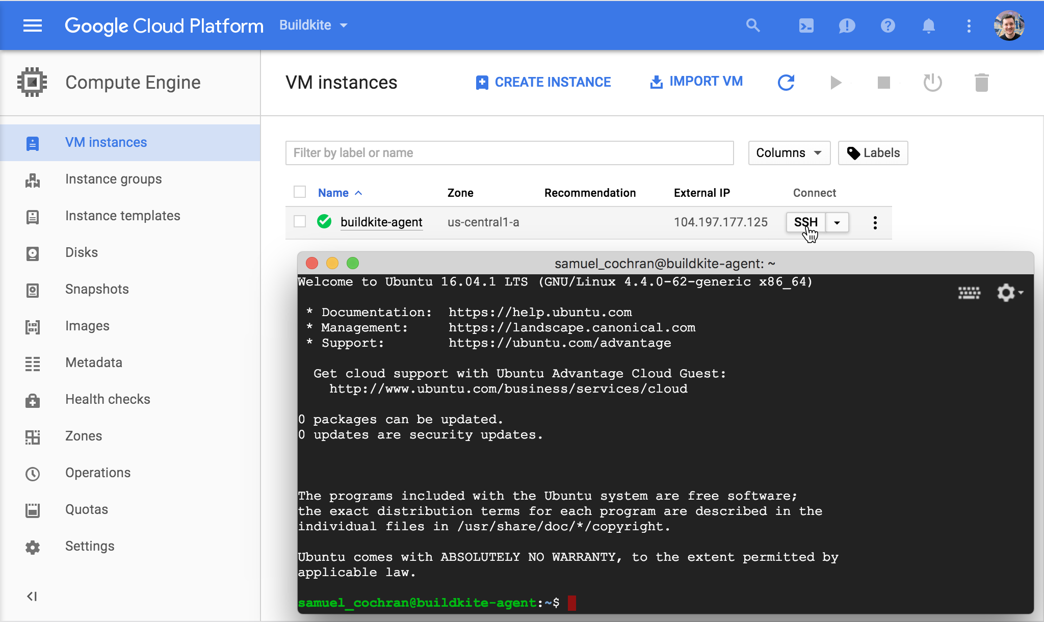 Screenshot of connecting to a Google Compute Engine instance via the Google Cloud Console