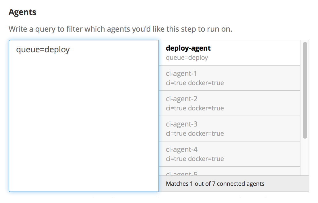 Agent Selector showing only the deploy selected