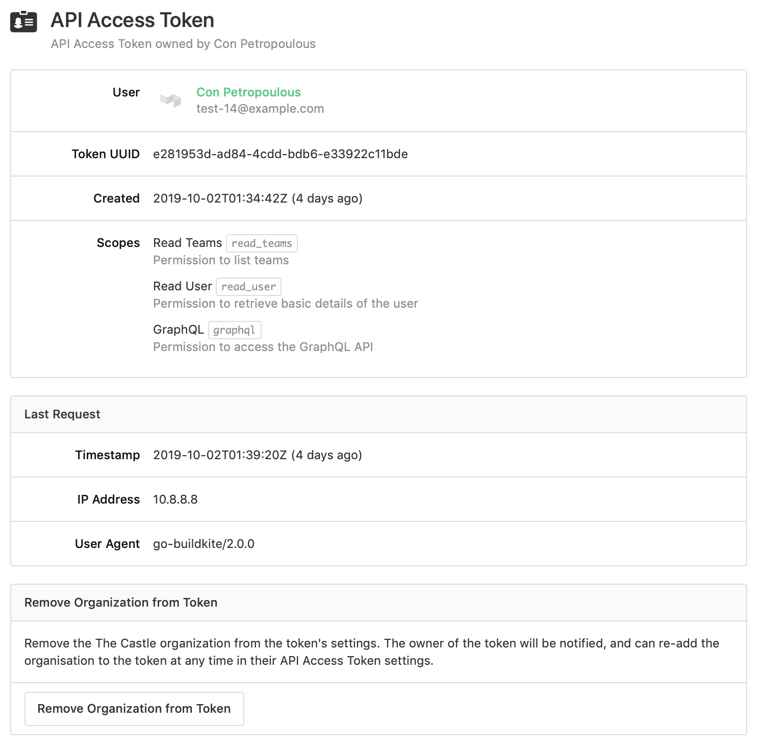 Screenshot of the API access token page with the Revoke Access button at the bottom of the screen
