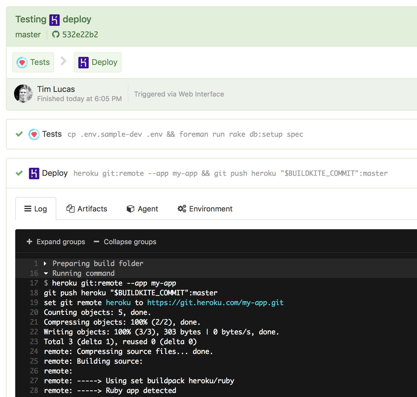 Buildkite Heroku deploy success