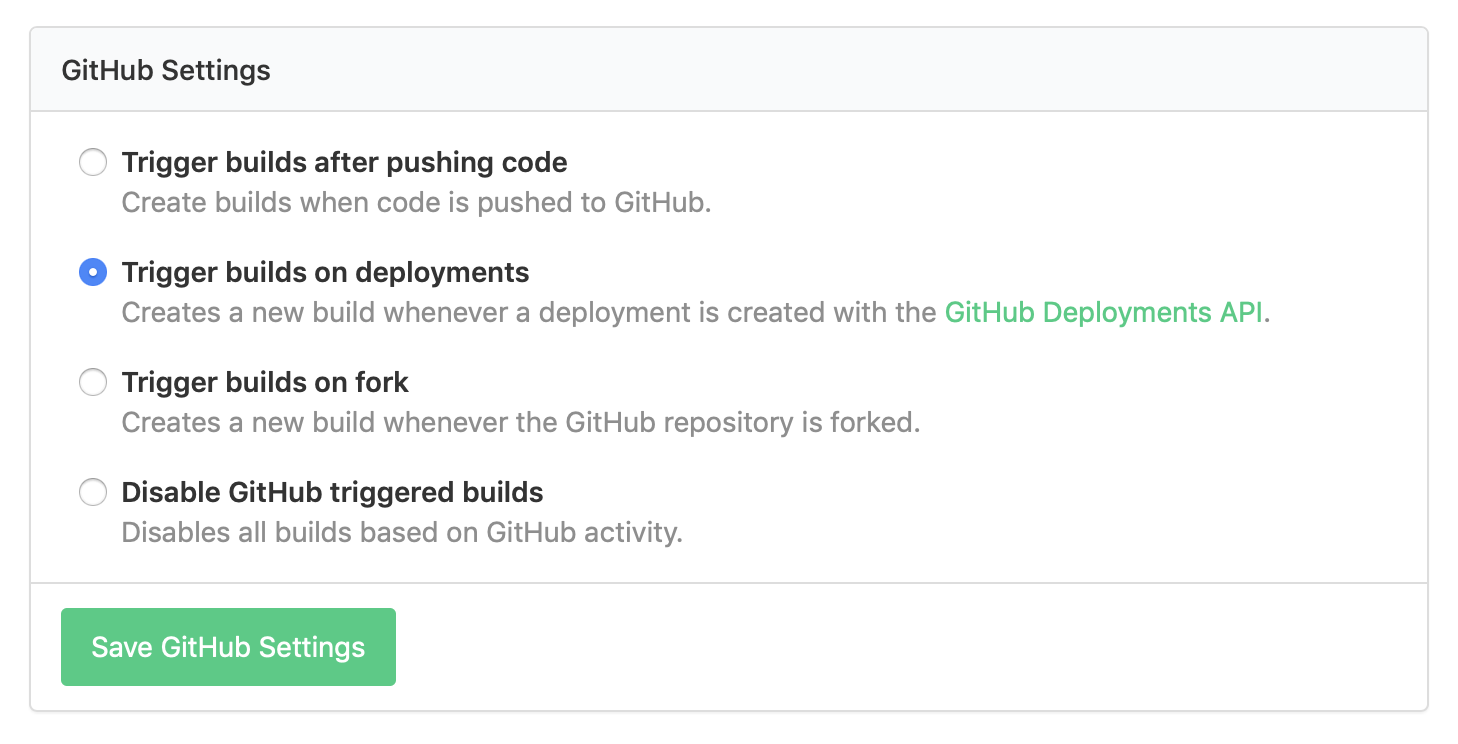 Buildkite's GitHub Settings with 'Trigger builds on deployment' checkbox selected