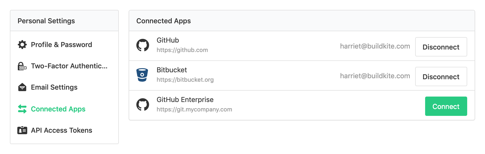 Screenshot of the Connected Apps page in Buildkite Personal Settings with the GitHub Enterprise App