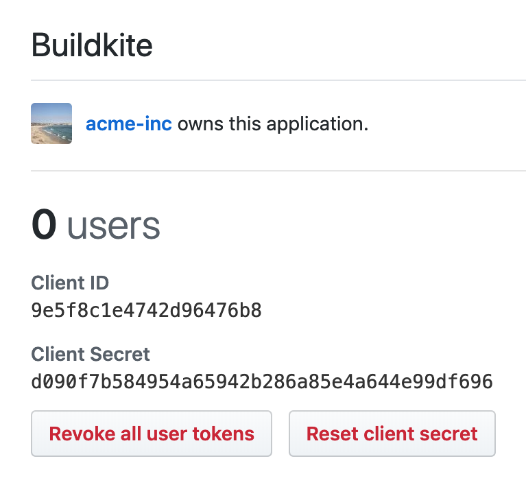 Screenshot of the Client ID and Client Secret section of the Buildkite OAuth App settings page