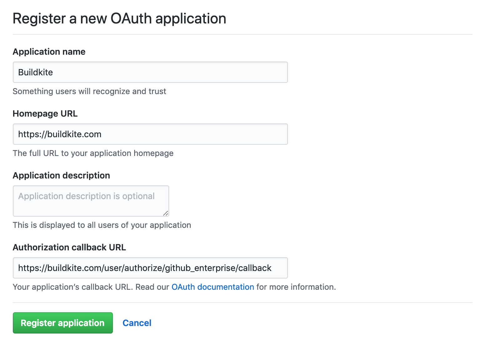 Screenshot of the form to Register an OAuth Application