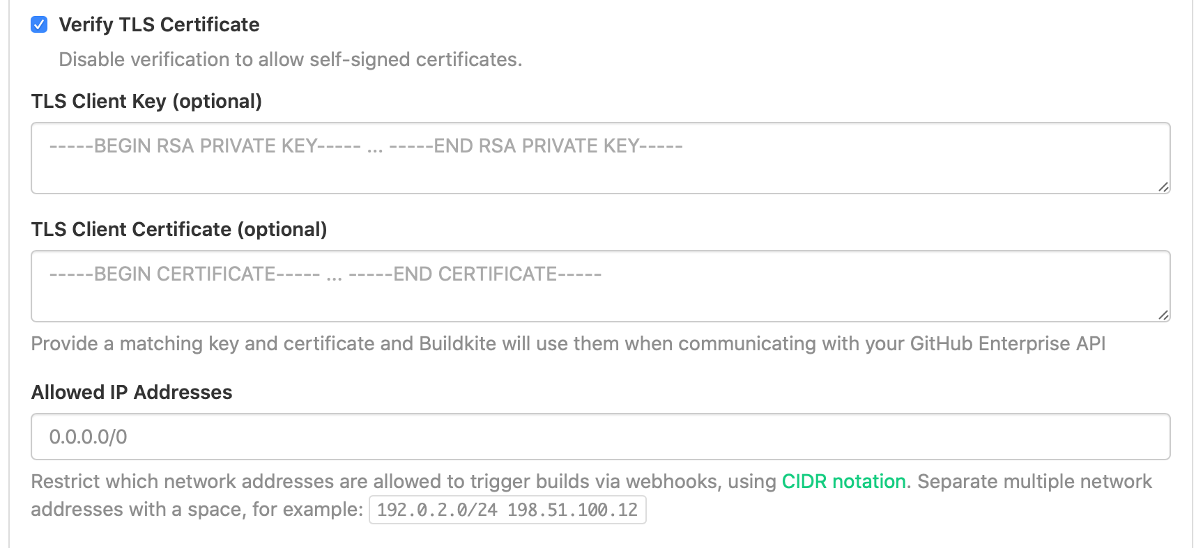 Screenshot of the TLS client settings section of the GitHub Enterprise settings in Buildkite