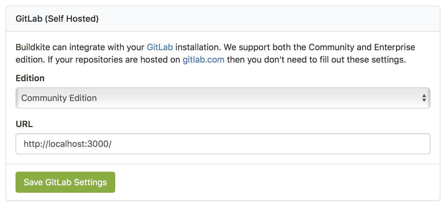 Screen of Buildkite Organiziation GitLab Settings