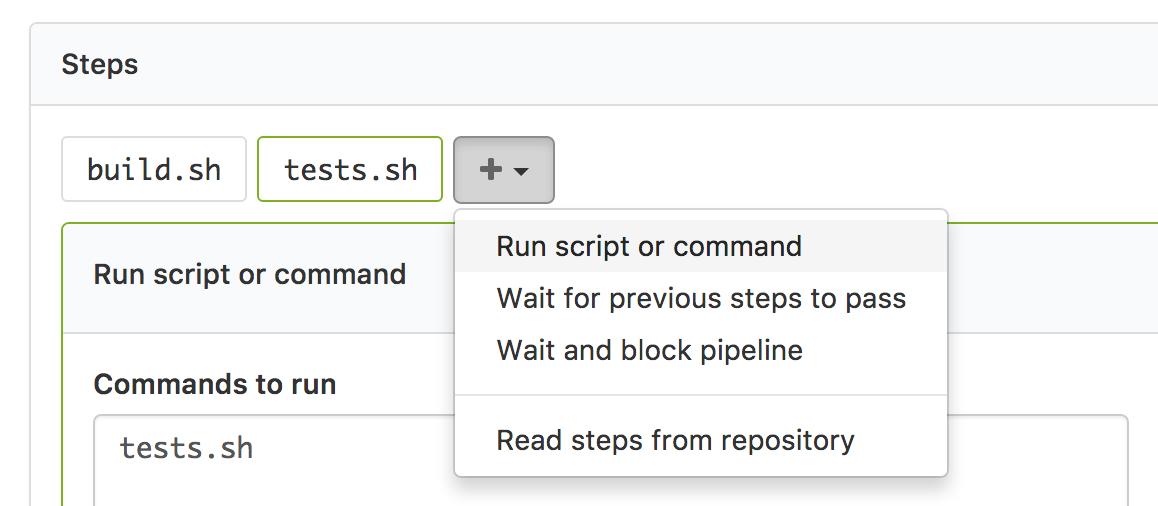 Screenshot of a basic command step