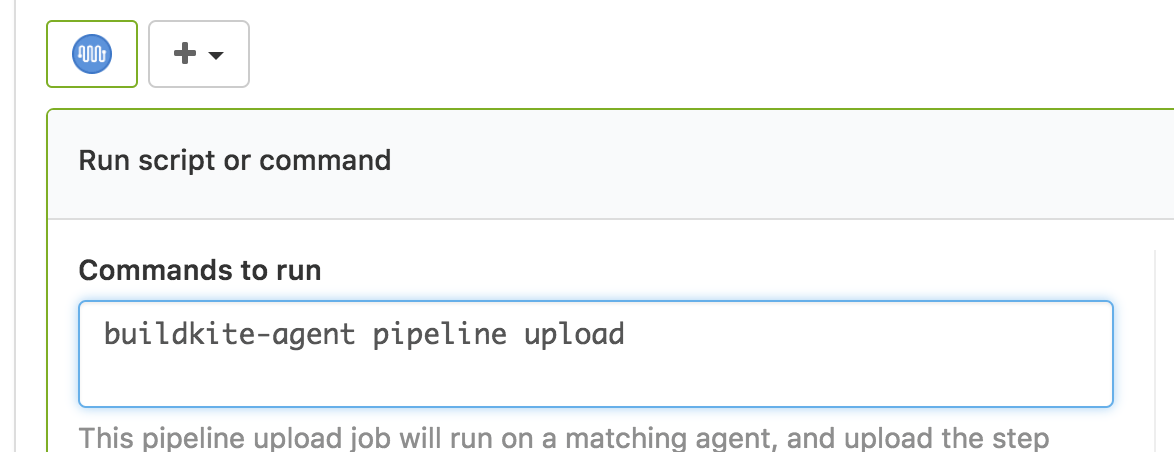 Screenshot of the pipeline upload step