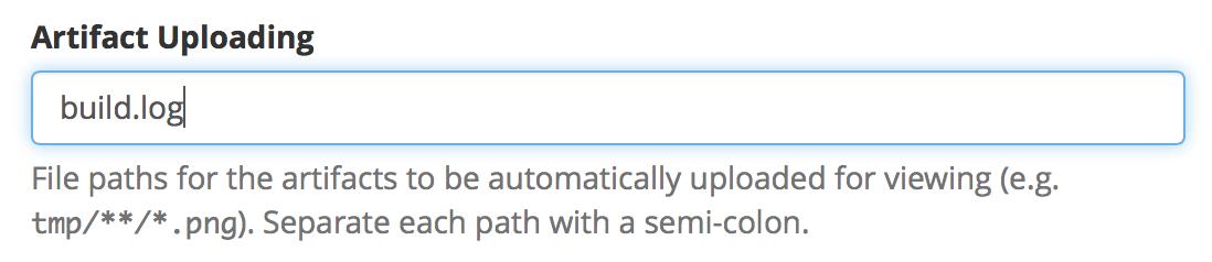 Screenshot of Artifact Uploading settings