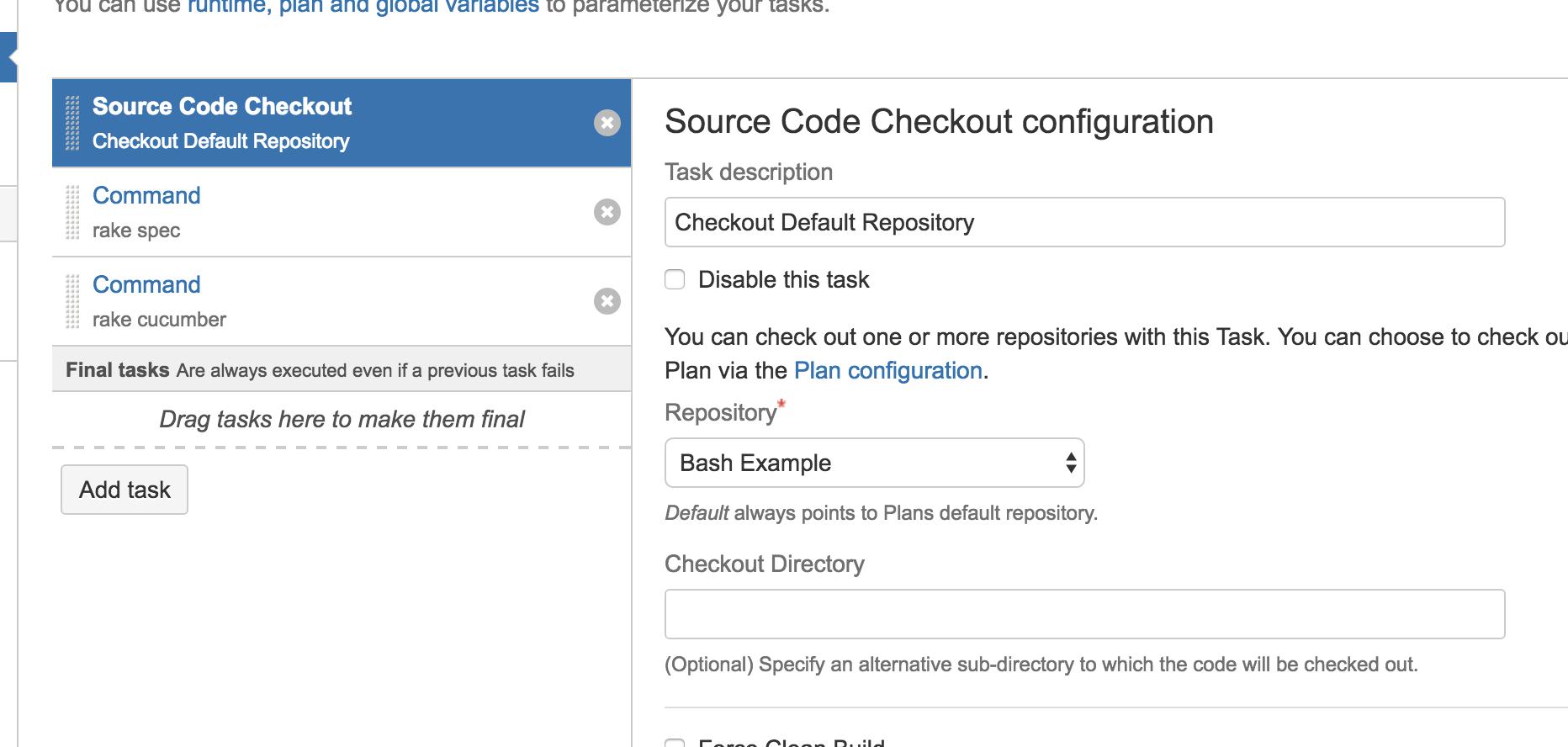 Screenshot of a Bamboo Task List